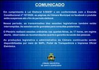 Transmissões ao vivo das sessões plenárias estão temporariamente suspensas